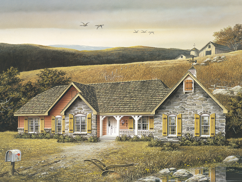 Ranch House Plan Front Image 001D-0007