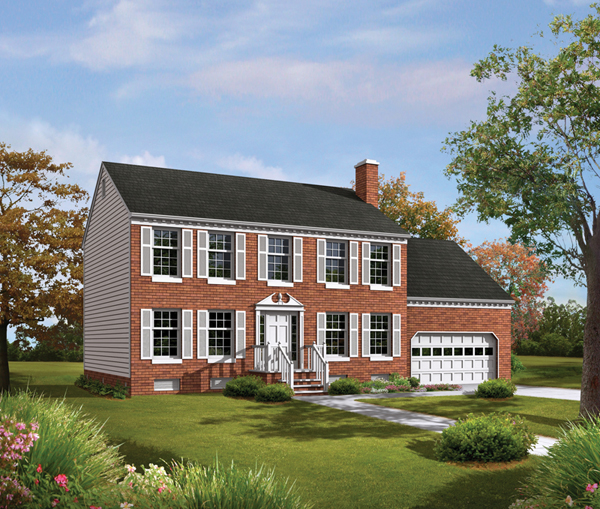 Colonial House Plans: Tidewater Colonial Home Plan 001D-0009