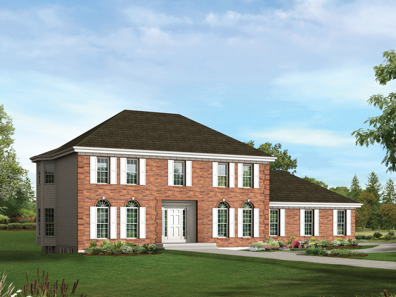 Colonial House Plan Front of Home 001D-0011