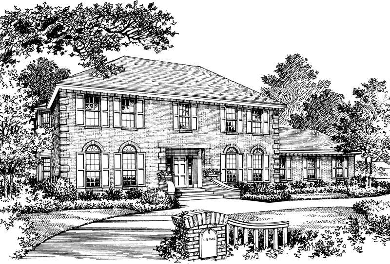Georgian House Plan Front Image of House 001D-0011