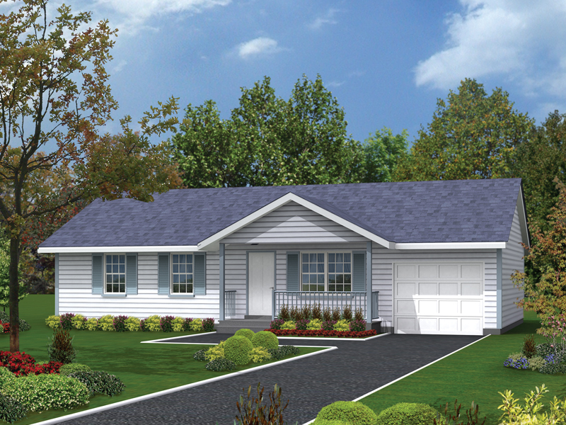Ranch House Plan Front of Home 001D-0018