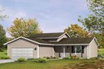 Informal Country Ranch Home With Front Loading Garage