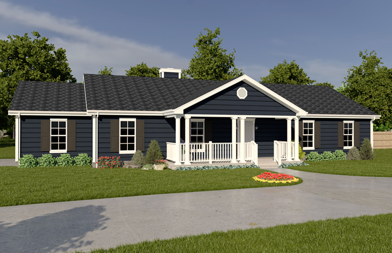 Ranch House Plan Front of Home 001D-0024