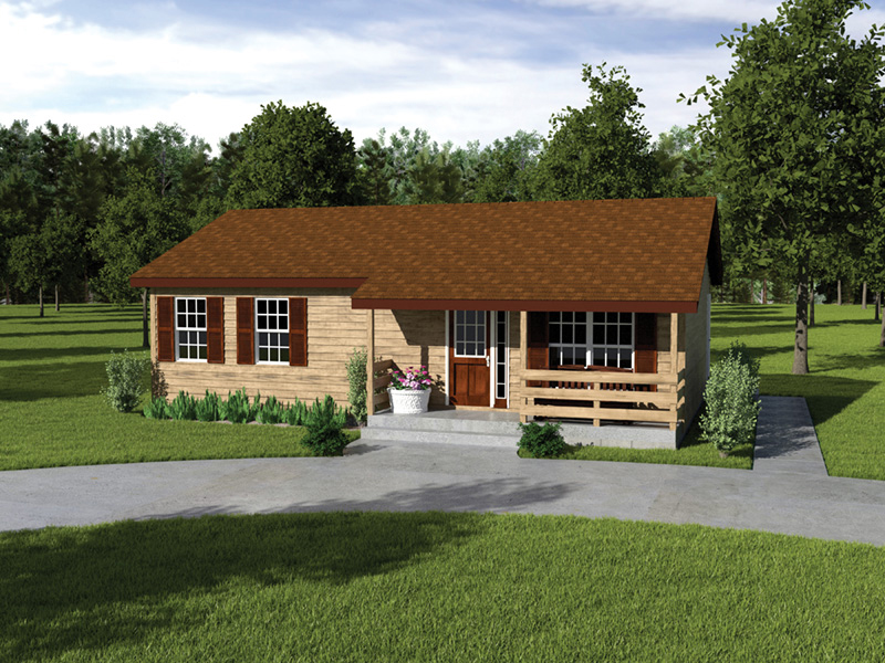 Vacation House Plan Front of Home 001D-0040