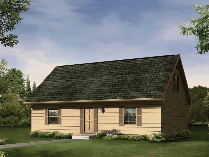 Saltbox House Plan Front of Home 001D-0055
