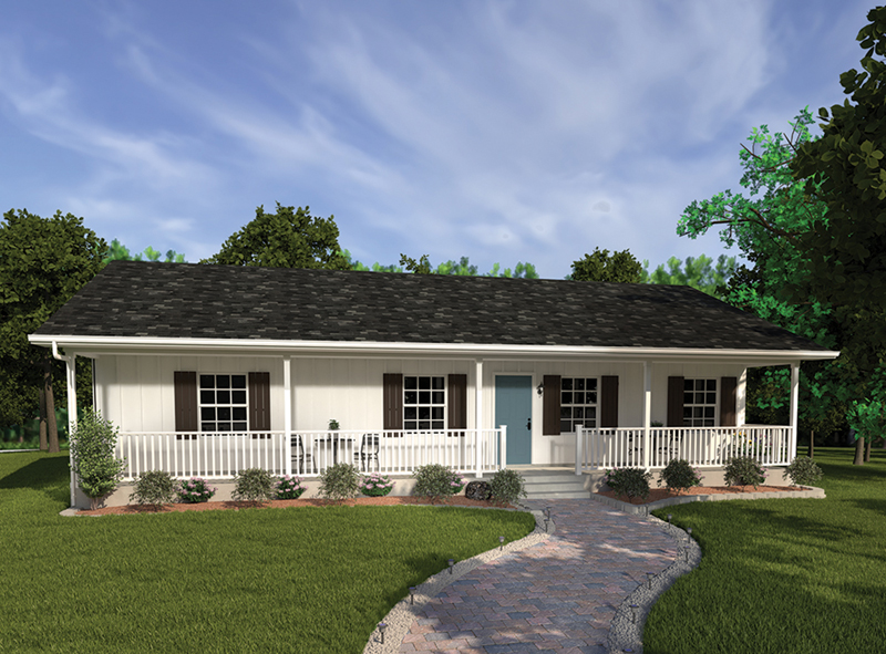 exceptional ranch style house plans with front porch #1: Accommodating Ranch Style Home With Front Porch