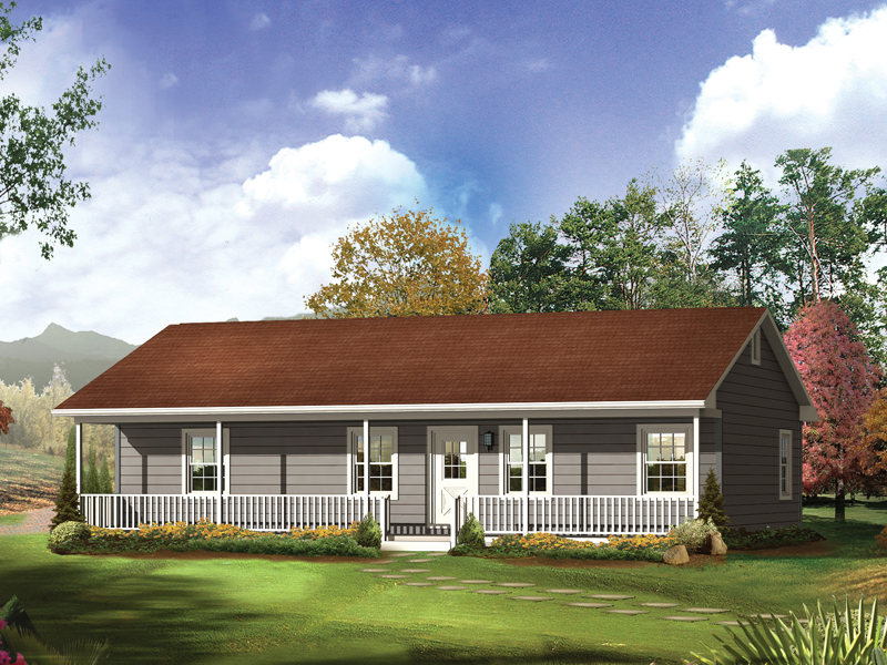 amazing ranch style house plans with front porch #5: Accommodating Ranch Style Home With Front Porch