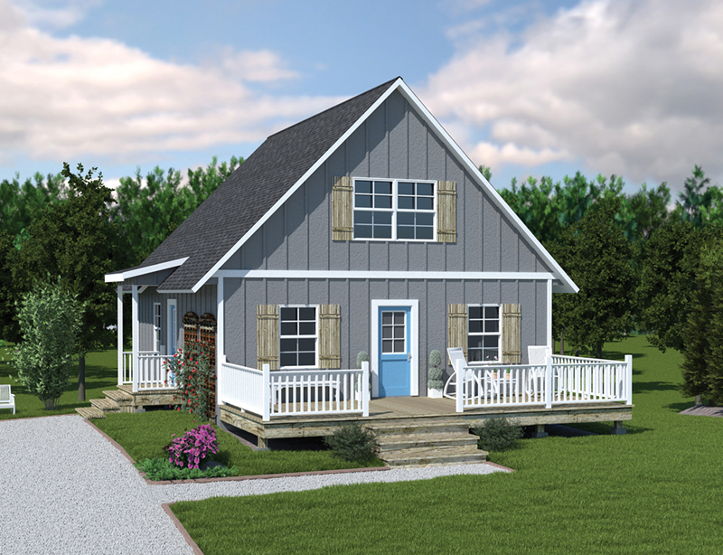 Lake House Plan Front of Home 001D-0086