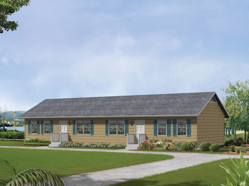 Compact Ranch Styled Multi-Family Plan