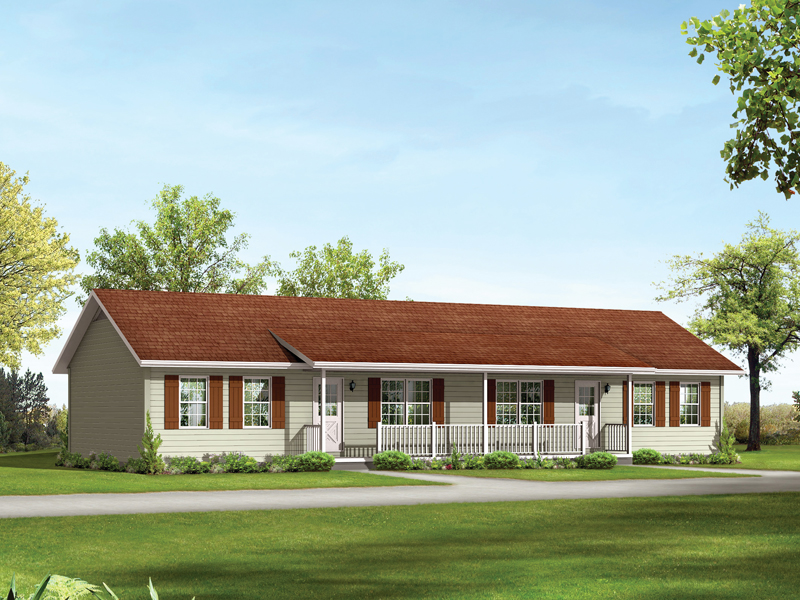 Ranch Styled Multi-Family Plan With A Covered Front Porch