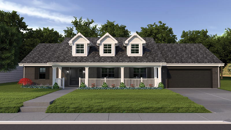 Ryland ranch home plan 005d 0001 house plans and more for House plans with dormers and front porch