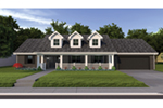 Classic Ranch With Complete Front Porch And Dormers