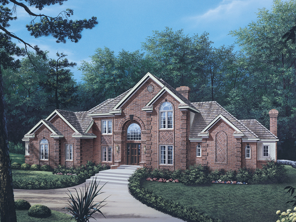 Briarcrest luxury two story home plan 006d 0002 house for Single story brick house plans