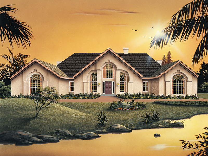 Ranch House Plan Front of Home 007D-0002