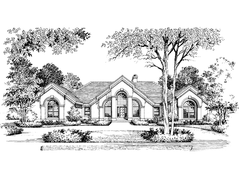 Ranch House Plan Front Image of House 007D-0002
