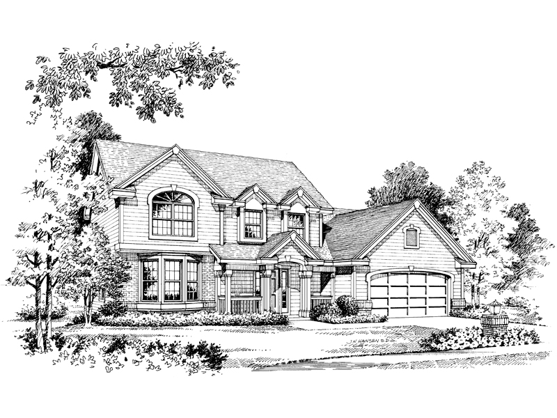 Traditional House Plan Front Image of House 007D-0003