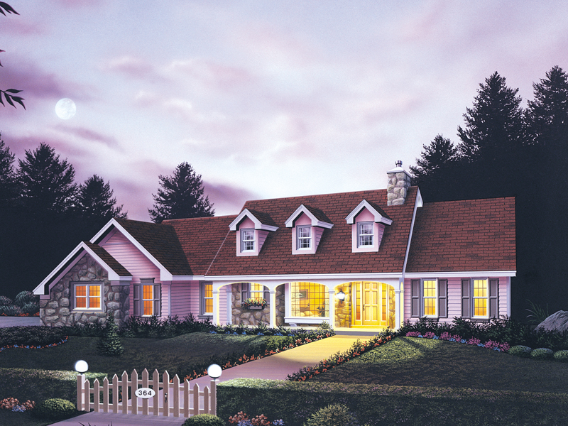 Ranch With A Covered Porch Topped With A Trio Of Dormers