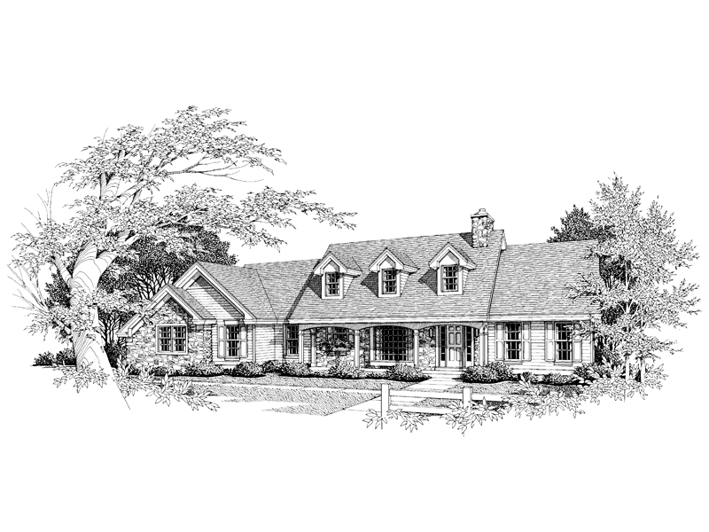 Traditional House Plan Front Image of House 007D-0004