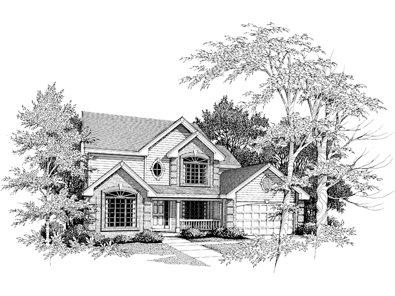 Traditional House Plan Front Image of House 007D-0005