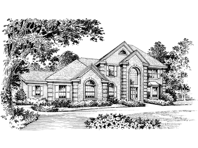 Traditional House Plan Front Image of House 007D-0006