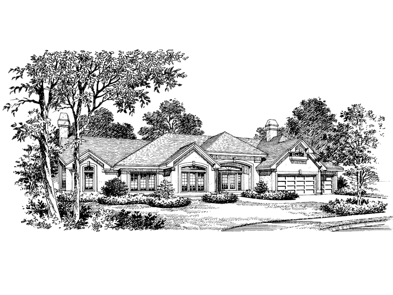 Ranch House Plan Front Image of House 007D-0007