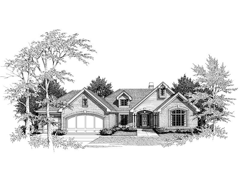 Traditional House Plan Front Image of House 007D-0008