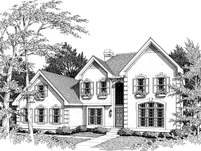 Traditional House Plan Front Image of House 007D-0009