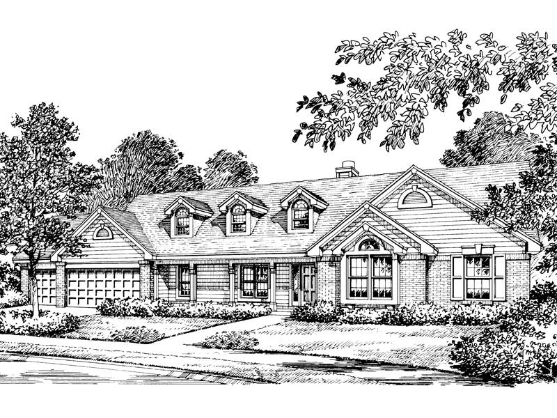 Ranch House Plan Front Image of House 007D-0010