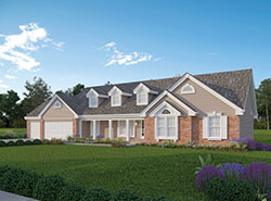 rear view of atrium ranch house plan