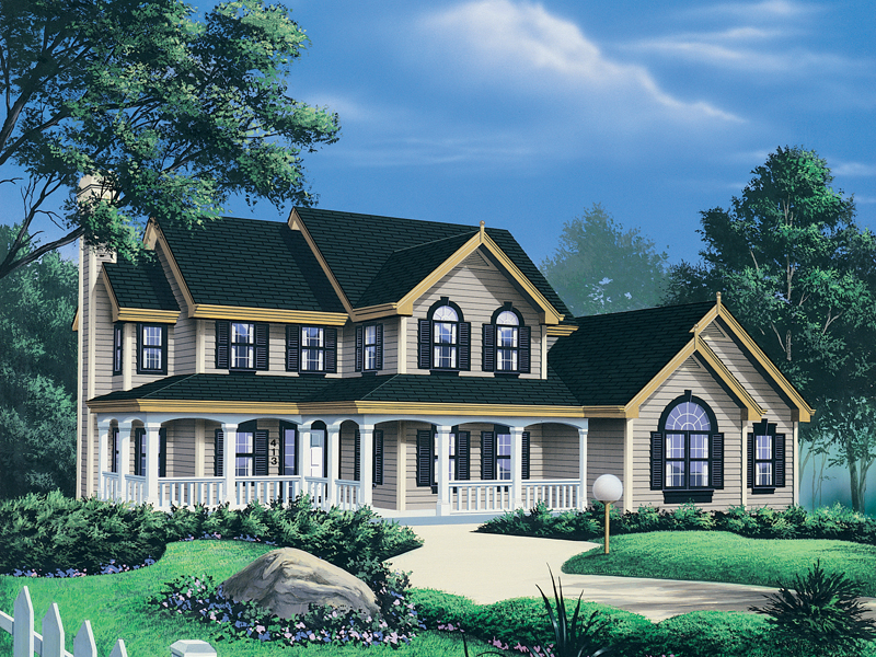 Farmhouse Plan Front Image - 007D-0011 | House Plans and More