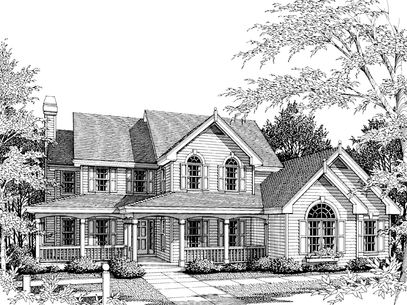 Farmhouse Home Plan Front Image of House - 007D-0011 | House Plans and More