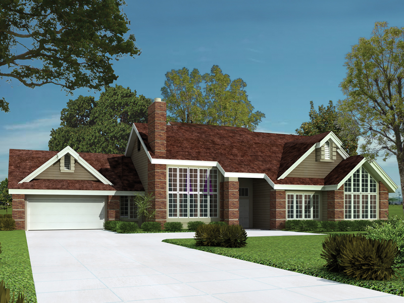 Ranch House Plan Front of Home 007D-0012