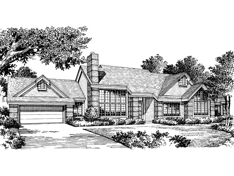 Ranch House Plan Front Image of House 007D-0012