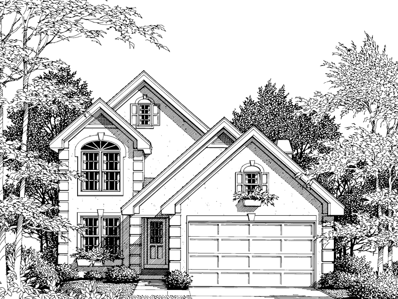 Traditional House Plan Front Image of House 007D-0014