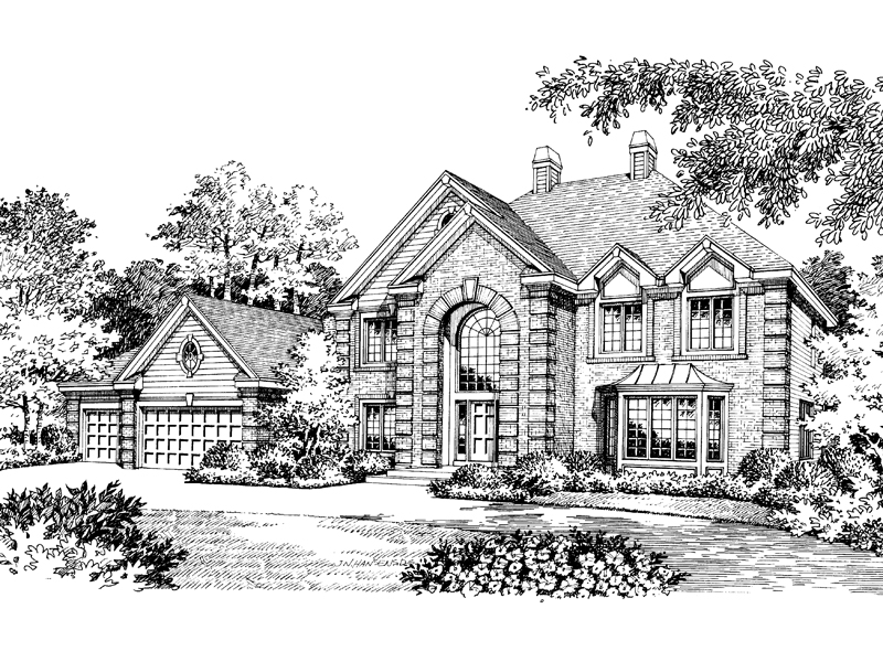 Traditional House Plan Front Image of House 007D-0016