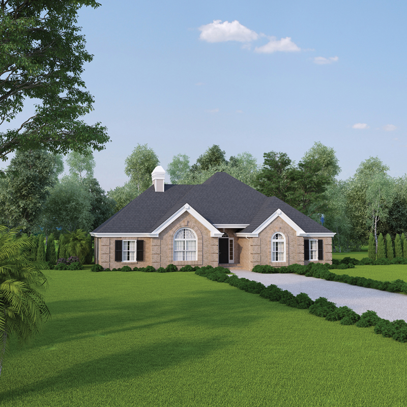 Country French Home Plan Front of Home 007D-0017