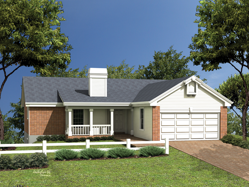 small country ranch with dramatic features - Small Ranch House Plans