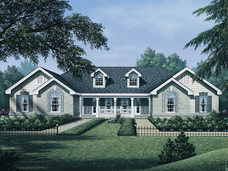 Country House Plan Front of Home 007D-0019