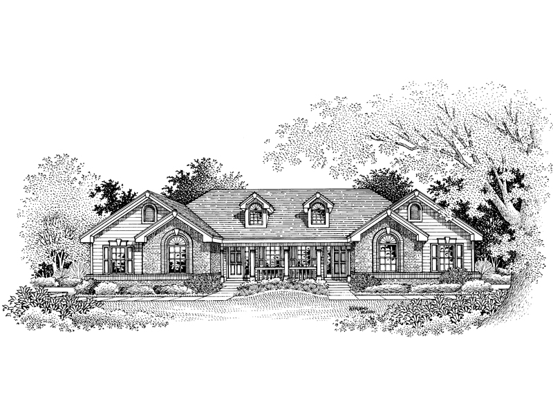 Ranch House Plan Front Image of House 007D-0019