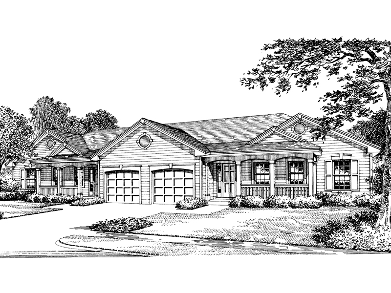 Ranch House Plan Front Image of House 007D-0020