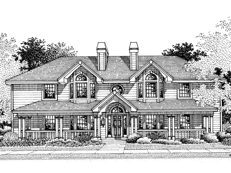 Traditional House Plan Front Image of House 007D-0021