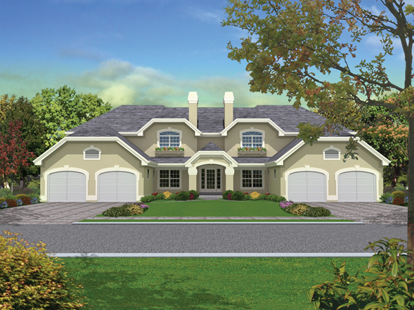 Pasadena fourplex multi family plan 007d 0022 house for Three family house plans