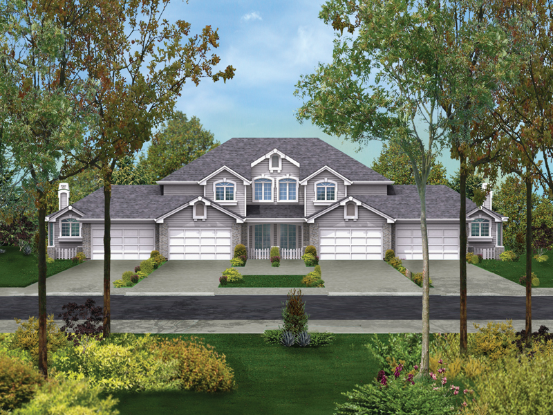 Multi-Family House Plan Front of Home 007D-0023