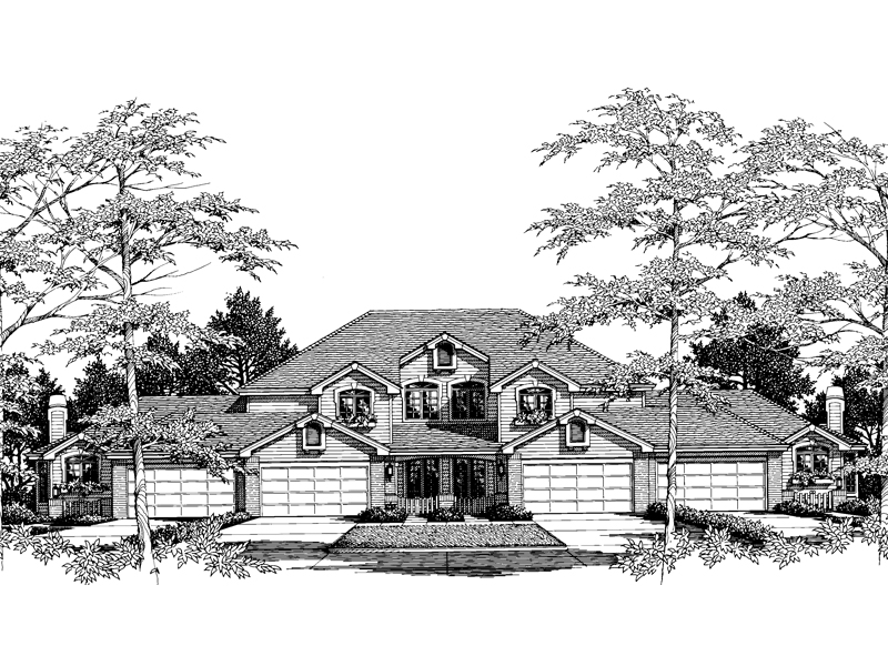 Multi-Family House Plan Front Image of House 007D-0023