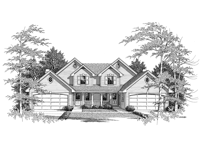 Traditional House Plan Front Image of House 007D-0024