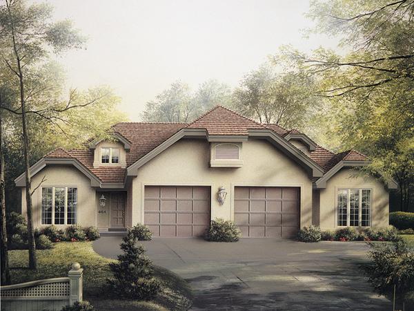 Highland multi family duplex plan 007d 0025 house plans for Single story multi family house plans