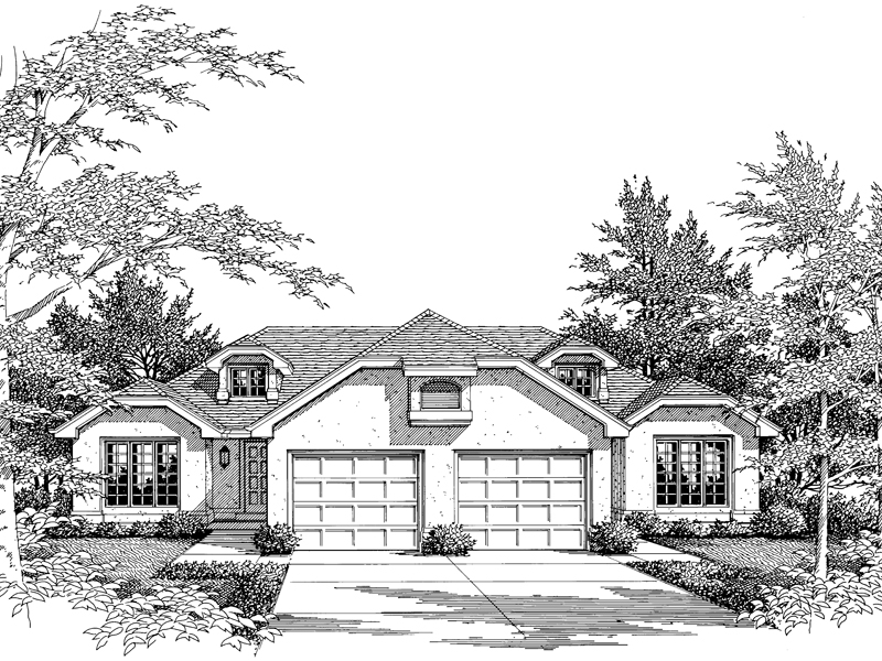 Multi-Family House Plan Front Image of House 007D-0025