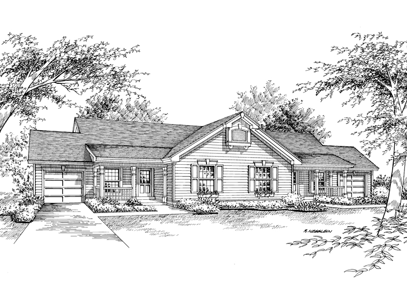 Ranch House Plan Front Image of House - 007D-0026 | House Plans and More
