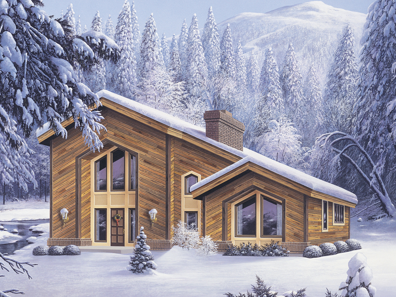 Cabin and Cottage Plan Front of Home 007D-0028
