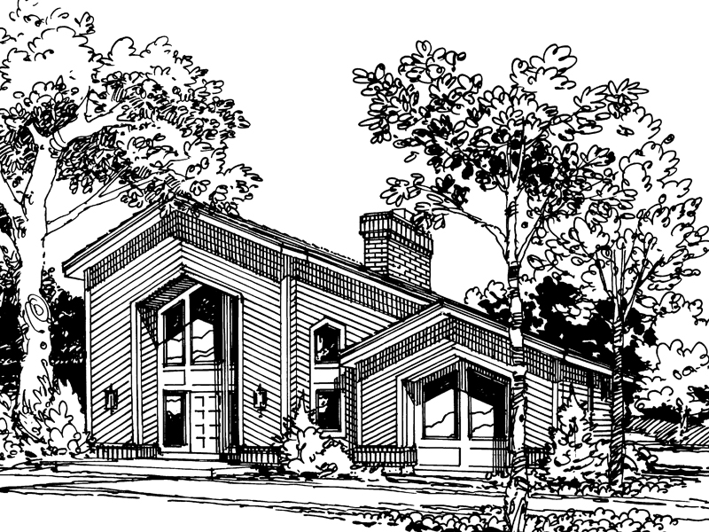 Cabin and Cottage Plan Front Image of House - 007D-0028 | House Plans and More